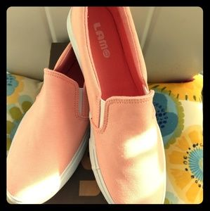 LAM Peach slip on loafers NIB
